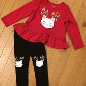 Girls 2T Children's Place Cat Holiday Outfit